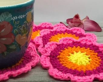 Flower Coaster Beginner Crochet Pattern, Beginner Crochet Pattern, Easy Crochet Pattern, Quick Crochet Pattern