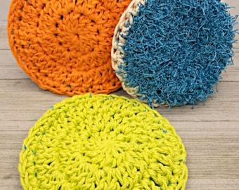 Two Sided Dish Scrubby Crochet Pattern, Beginner Dish Scrubby Pattern, Beginner Cotton Dish Scrubby Pattern