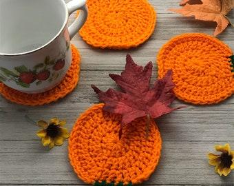 Easy Pumpkin Coaster Crochet Pattern, Beginner Pumpkin Coaster Crochet Pattern, Beginner Pattern