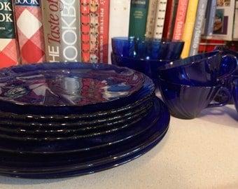 Vintage Arcoroc Cobalt Sapphire Blue Mismatch Collection, plates, bowls and tea cups- 15 pieces