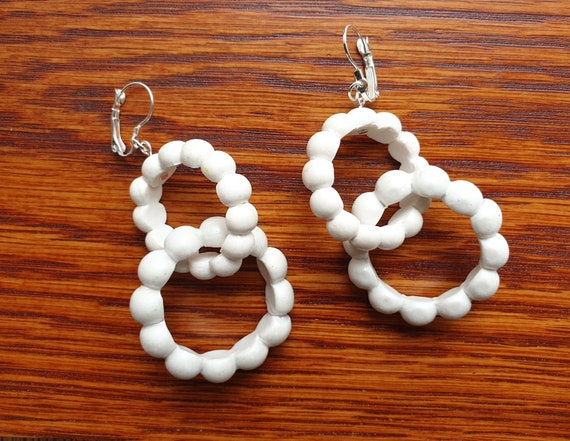 Neutral Polymer Clay Earrings Gifts Classic Style Statement Earrings Houndstooth Earrings Baby Pink Earrings Clay Earrings