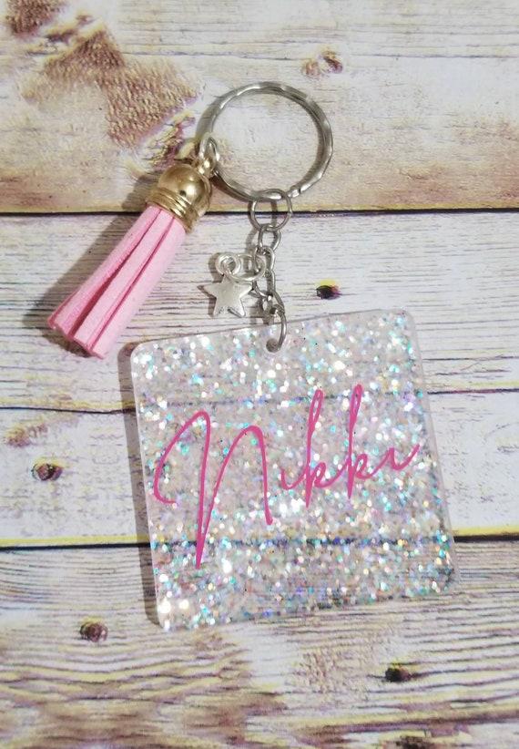 Glitter Personalized Keychain