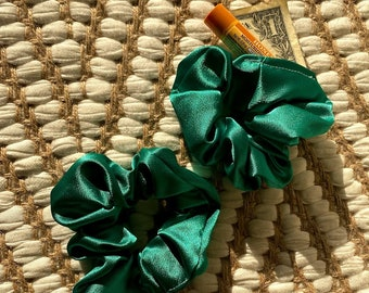 Emerald Green Satin Hidden Pocket or Regular Scrunchie