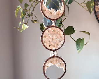 Triple goddess triple moon SunCatcher Stained Glass Ornament With Pressed Flowers - Boho Nature Decor Prism - copper patina witchy vibes