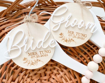 Personalized Bridal Hangers, Bride and Groom Hangers, Mr and Mrs Hangers, Matching Hangers, Wedding Day Photo Op Hangers, Wedding Hanger,