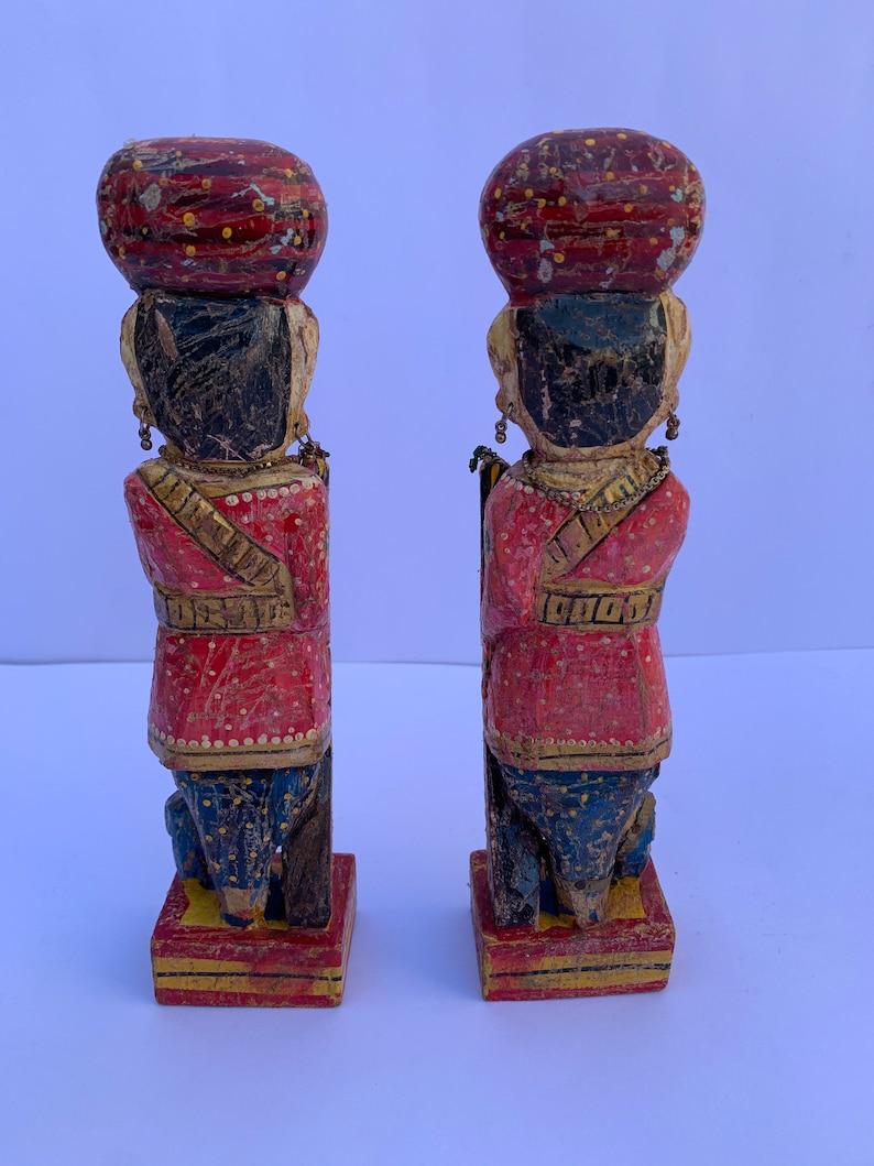9 Inch Laxman Art Vintage Old Handicraft Wooden Hand Painted Welcome ManGate ManChowkidarRoyal GuardFigurine Statue Showpiece in Pair