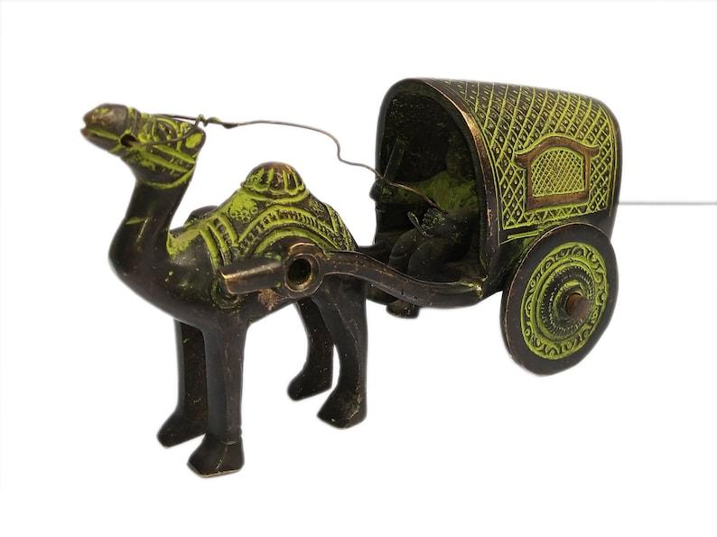Antique Vintage Indian Brass Camel Cart Showpiece Home Decor Statue Figurine