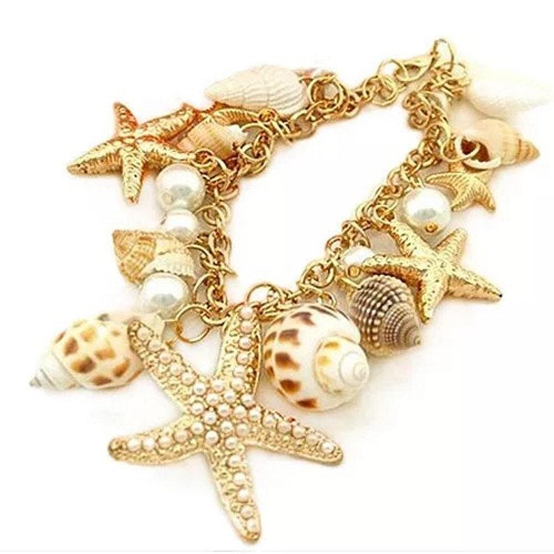 Starfish seashell bracelet beach jewelry beach wedding gift for her rose gold bracelet korean handmade grandmother gift
