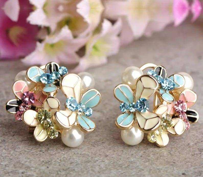 Butterfly Pearl Enamel jewelry set Pink Crystal Pendant Necklace stud Earrings Costume Jewelry valentines day gift flower girl gift dainty