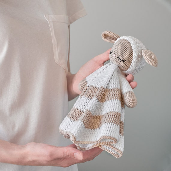 Crochet sheep lovey pattern Security blanket  Blanket toy