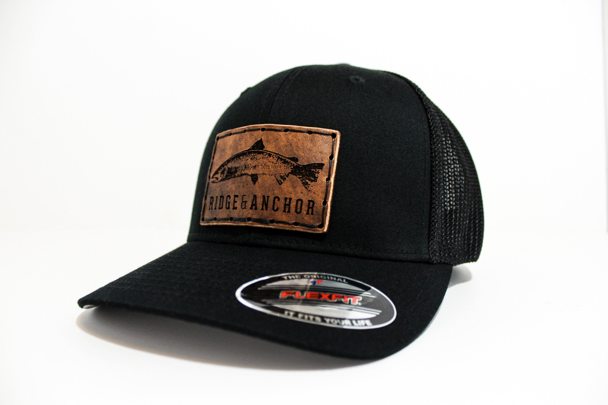 Solid Black Flexfit model 6511 w/ Ridge & Anchor Salmon Logo - Custom  handstitched leather patch hat