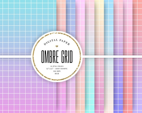 Ombre Grid Digital Paper Vaporwave Backgrounds Pastel Etsy