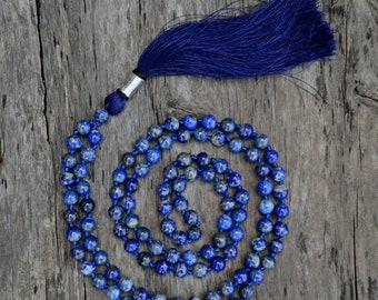 Sacred Purification Mala 8MM,  108  Mala Necklace, Lapis Lazuli Mala, Yoga Mala, Lapis Lazuli Necklace, Japa Mala, Lapis Lazuli Jewelry