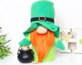 St Patrick s Day gnome Leprechaun with Pot of Gold Coins Irish gift patrick gnome