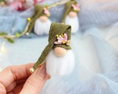Brooch spring gnome Miniature decor Nordic Swedish Tomte Nisse Holiday elf Scandinavian style idea for gift
