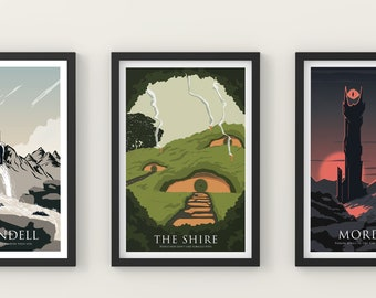 Set of 3 posters -  Poster Gift - Mordor - The Shire - Rivendell - Parody work
