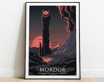 BUJI Mordor Poster sur toile Le Seigneur des Anneaux 20 x 30 cm