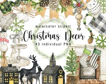 Watercolor  Christmas Decor Clipart Cute Houses Winter Cozy Clipart Christmas Tree Digital clip art  Hand Painted Instant Download png