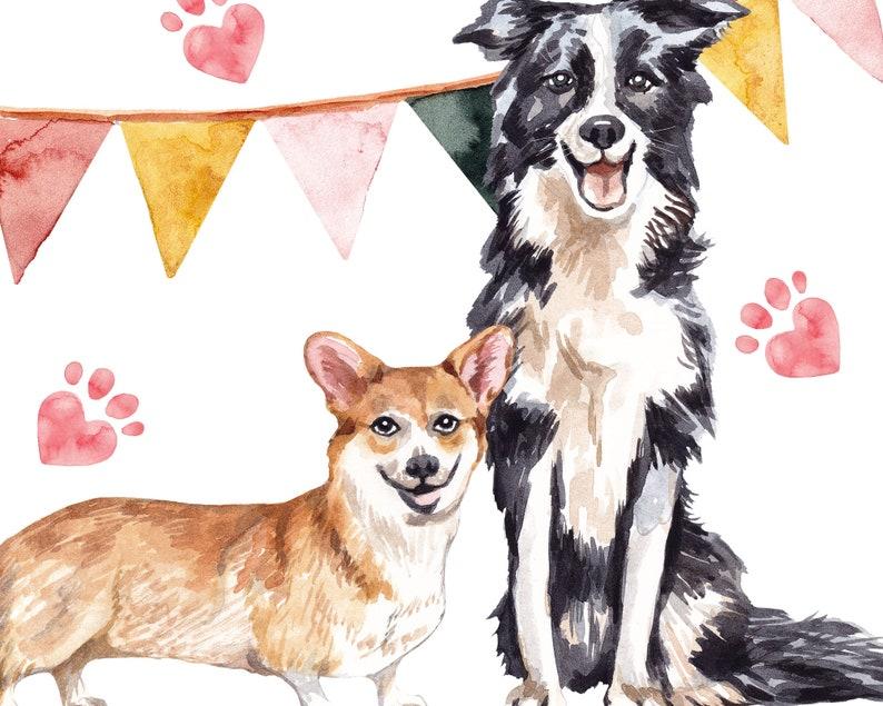 Dogs portrait Water color clipart Clipart dogs Birthday clipart Cute clipart Pet dogs clipart Dog clipart Pet watercolor painting