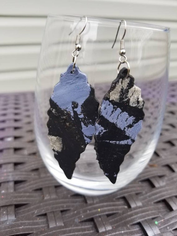 Medium  size Leaf shaped Ridged Edge Clay Art Earrings ( Various styles )