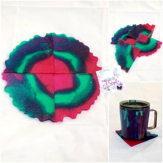 4 PC Geode Inspired Drink Coasters (cup not included)
