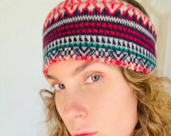 Knit Nordic print Boho headband, Scandinavian print cute hair band, hair wrap, turban, boho Headbands, Boho Head Wrap, Boho