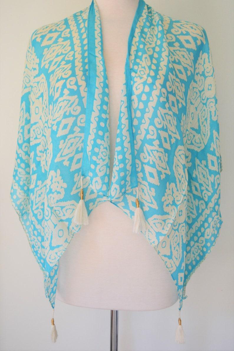 Turquoise blue kimono top Boho Kimono Top Boho Kimonos Fashion Cotton Boho Kimono Cotton Batik Turquoise Kimono Top w Cute Tassles
