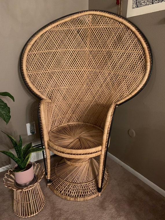 1970s Vintage Wicker Peacock Chair by Etsy