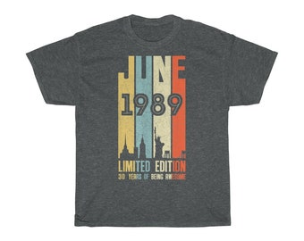Vintage 1989 30 Year Of Being AWESOME 30th Birthday Shirt June Old Him Her Gift T For Men And Women