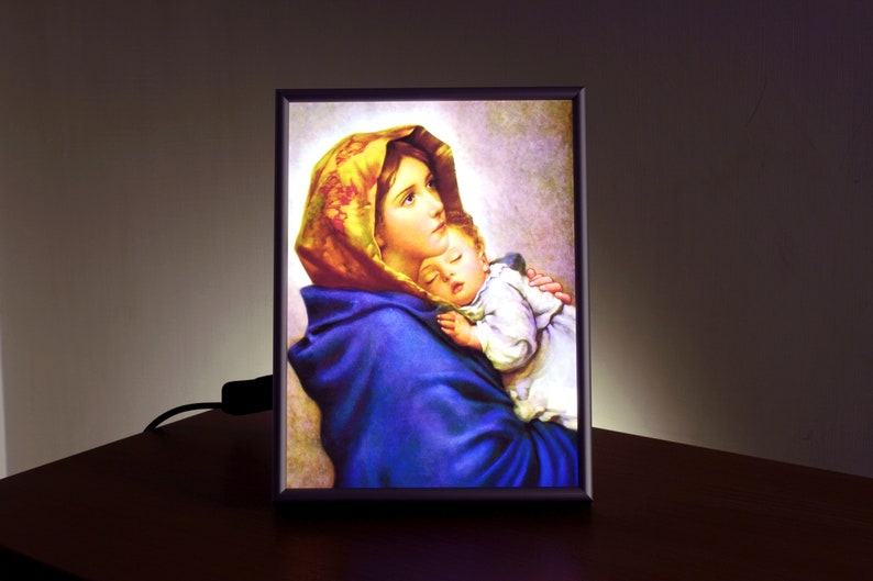 Madonna of the Streets, Catholic Saints Prints, Backlit Frame, Virgin Mary  and Baby, Religious Gifts, New Mom Gift, Catholic Art, Baby Jesus