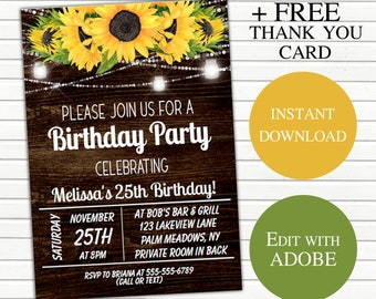 picture regarding Free Printable Sunflower Template known as Sunflower invitation Etsy
