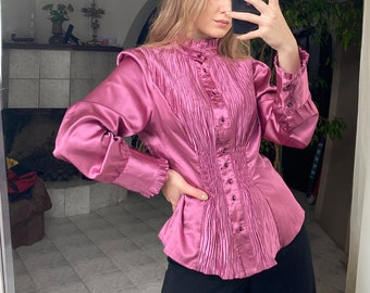 vintage silk blouse pleats and ruffles light pink color