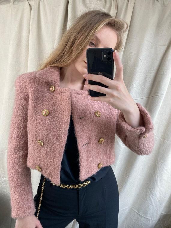 Vintage pink jacket, Elegant Cropped wool jacket