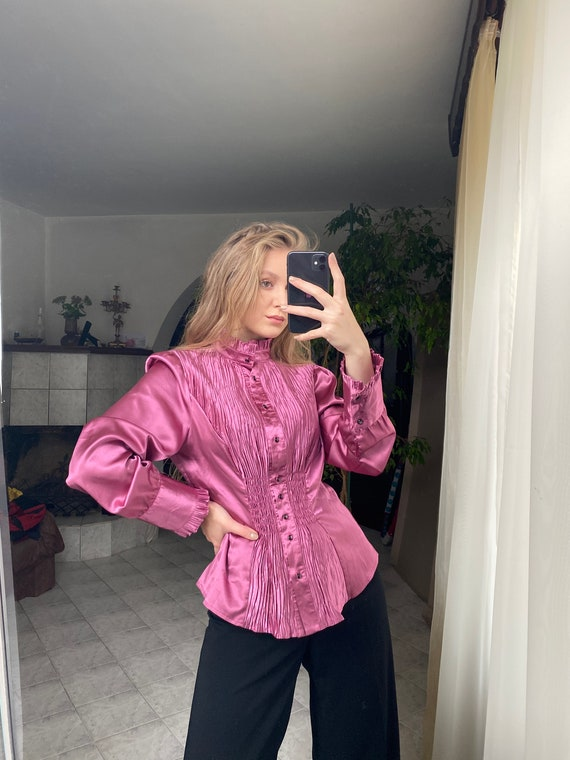 Vintage bright pink blouse | Pleated satin shirt