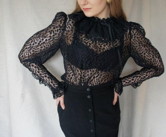Vintage Jabot Black Lace Feminine Blouse| Sheer el