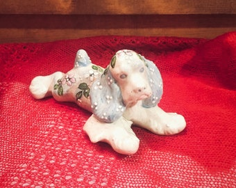 M. Brumow Hand Made Ceramic Floral & Bow Puppy