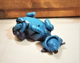 Hand Made Studio Art Lounging Blue & Purple Cat