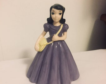 Holland Molds Gal in Purple Gown / Yellow Purse / Ceramic Figurines