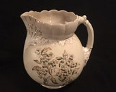 Large brown ornate victorian floral transferware ironstone pitcher