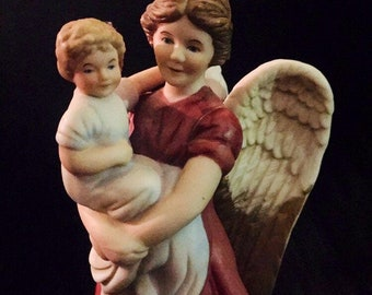 """Angel in Red Dress with Child / 8"""" Homco Figurine  #1414 / Mothers Day"""