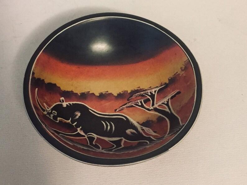 Kenya African Safari Hand Carved Soapstone Trinket 4 Dish