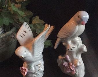 Porcelain Pale Blue & White Bird Japenese Figurines / Vintage Set of (2)
