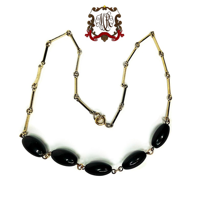 Vintage delicate necklace with black glass beads /& gold plated 8 kt chain pins Old unique pearl necklace in original condition30s
