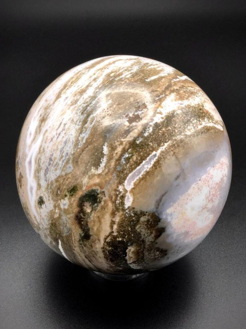4.73 Pounds Extremely Large Old-stock Rare Ocean Jasper Sphere Madagascar Jasper Crystal Ball Spiritual Decor Magic Healing Gemstone