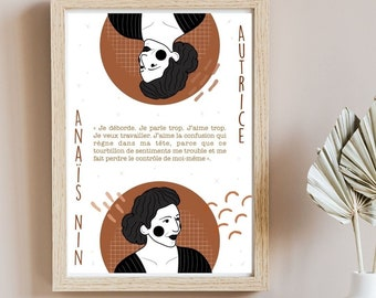 Affiche autrice Anaïs Nin - Affiche numérique - Cadeau pour lecteur