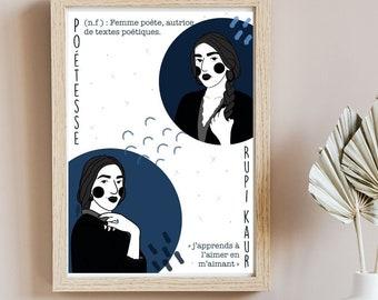 Affiche poétesse Rupi Kaur - Affiche numérique - Cadeau pour lecteur
