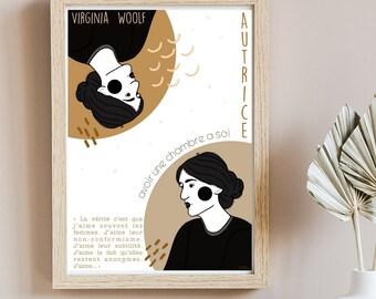 Affiche autrice Virginia Woolf - Affiche numérique - Cadeau pour lecteur