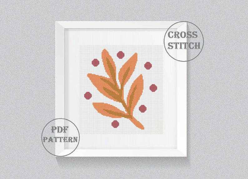 Boho Cross Stitch Pattern PDF Abstract Leaf Counted Modern Easy Contemporary Botanical embroidery Botanical cross stitch pattern PDF