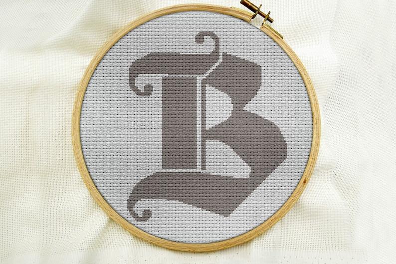 Modern Letter B Counted Chart Scandinavian Letter B Cross Stitch Pattern PDF Monogram Letter B Pattern Monogram Cross Stitch Pattern