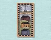 Dollhouse Miniature 1x2 Sign, Simplify Saltbox Houses, Simple Life Wall Art Picture Doll House Decor Room Box Decoration Faux Folk Art